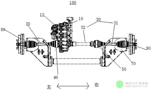 用于车辆的非独立悬架驱动桥结构及具有其的电动汽车高清图片