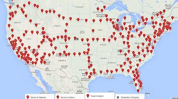 特斯拉美国充电桩布局   而按照国内京沪高速公路沿线的充电站布局,平均40.7公里有1个充电站。虽然充电站布局密度相差不大,但特斯拉每个充电站内平均有10个充电桩可用,国内配置是4个,数量不到特斯拉的一半。   除了充电站和充电桩的布局外,此次国内充电收费标准的公布也值得关注。虽不能与特斯拉超级充电站的免费使用相比,但国内充电费用仍要比汽油便宜40%左右。